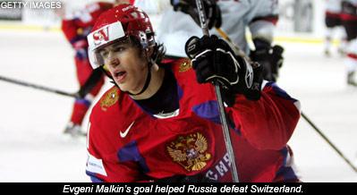 Evgeni Malkin scores versus Switzerland