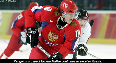 Young star Evegni Malkin blazin in Russia