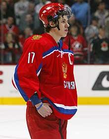 Russia's hockey team captain Evgeni Malkin