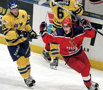 Evgeni Malkin celebrating a goal agaisnt Sweden